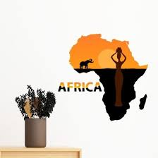Shop Africa Map Savanna Elephant Wildlife Black Women Removable Wall Sticker Art Decals Mural Diy Wallpaper For Room Decal Online From Best Wall Stickers Murals On Jd Com Global Site Joybuy Com