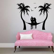 Shop Seaside Beach Sea Gull Hammock Love Man Woman Vinyl Sticker Design Art Bedroom Decor Sticker Decal Size 48x48 Color Black Overstock 14685461