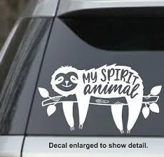 Sloth My Spirit Animal White 7 5 Vinyl Decal Sticker For Car Laptop Yeti Etc Ebay
