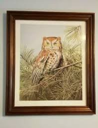 Owl Painting Framed Signed Print by Ericka Smith DeLong Beautiful Piece of  Art   eBay