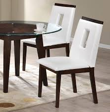 glass top table white leather chairs