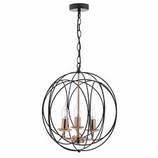 copper and black globe ceiling pendant