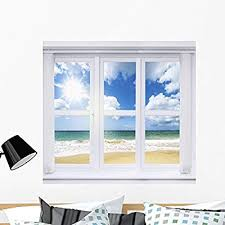 Amazon Com Wallmonkeys Fot 76842951 36 Wm277547 Summer Window Peel And Stick Wall Decals 36 In W X 34 In H Large Home Kitchen