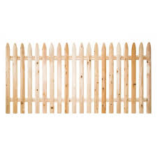 4 Ft H X 8 Ft W Eastern White Cedar Moulded 3 In Spaced Pointed Picket Rail Fence Panel 235684 The Home Depo Eastern White Cedar White Cedar Fence Panels