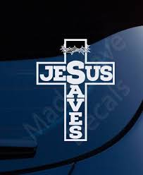 Jesus Saves Cross Crown Thorns Christian Decal Car Laptop In 2020 Christian Decals Jesus Saves Cross Christian Car Decals