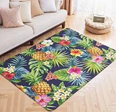 tropical flower print floor mat