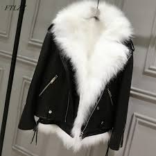 ftlzz winter pu leather jackets women