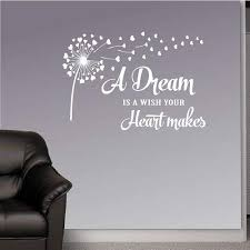 Amazon Com In Style Decals Wall Vinyl Decal Home Decor Art Sticker A Dream Is A Wish Your Heart Makes Quote Phrase Dandelion Flower Bedroom Living Room Removable Stylish Mural Unique Design 2554 Home