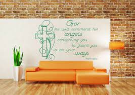 Psalm 91 11 Wall Art Sticker Bible Quote Decal Angels Home Church Decor Ebay