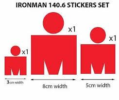 M Dot Ironman 140 6 Vinyl Stickers Set 3pcs Ebay