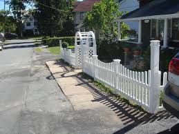 Vinyl Picket Fence With New England Post Caps And Palace Solar Cap On The Corner Posts And Grand Arbor Over Opening Ketcham Fenceketcham Fence