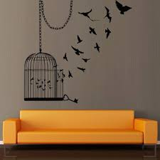 Wall Decal Decor Decals Art Sticker Birdcage Cage Bird Room Flight Chain Key M373 Wall Paint Designs Creative Wall Painting Wall Decals Living Room