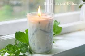 homemade lavender and mint soy candle
