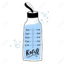 Reusable Water Bottle Decal With Timing Of Regular Water Intake Royalty Free Cliparts Vectors And Stock Illustration Image 138971109