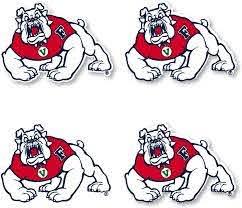 Amazon Com Fresno State Bulldogs 4 Inch Vinyl Mascot Decal Sticker 4 Pack Kitchen Dining