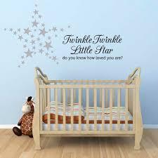 Twinkle Twinkle Little Star Wall Sticker Nursery Decal 60 Silver Stars Ebay