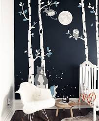 Birch Tree Wall Decal Wall Sticker Night Time Forest Wall Decal Tree With Birds Baby Bear Monkey Owls Birch Tree Wall Decal Tree Wall Decal Baby Room Wall