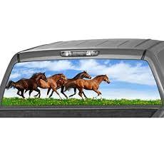 Amazon Com Motorink Running Horses Rear Window Graphic Decal Tint Sticker Truck Suv Ute Glasscape Automotive