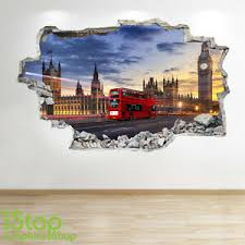 London Wall Sticker 3d Look Bedroom Lounge London Bus Wall Decal Z6 Ebay