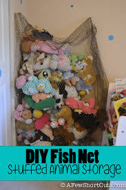Diy Fish Net Stuffed Animal Storage A Few Shortcuts