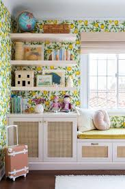 White Floating Shelves On Lemon Print Wallpaper Transitional Girl S Room