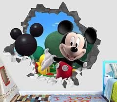 Amazon Com Mickey Mouse Wall Decal Smashed 3d Sticker Vinyl Decor Mural Kids Broken Wall 3d Designs Op466 Giant Wide 50 X 46 Height Home Kitchen