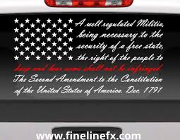 Second Amendment American Flag With Red Line For Fireman Support Vinyl