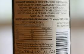 nutritional information on alcohol