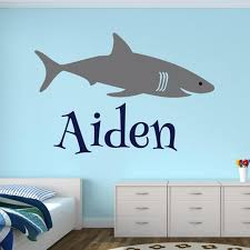 Hot Discount 145a Shark Custom Name Wall Decal Personalized Name Wall Stickers For Boys Room Decal Baby Kids Room Wall Decor L164 Cicig Co