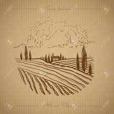 Tuscany Landscape With Fields Hills Hand Drawn Vineyard Or Royalty Free Cliparts Vectors And Stock Illustration Image 69148837