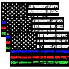 Amazon Com Thin Blue Line Red Line Fire Police Military Dispatch Corrections Flag Decal Vinyl Sticker 5 Automotive