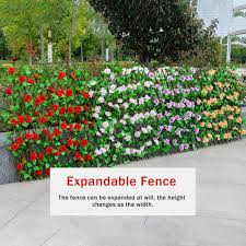 Super Promo 98881 Artificial Hedge Wall Garden Fence With Flowers Leaves Outdoor Plants Hedge Durable Retractable Garden Guardrail Decoration Cicig Co