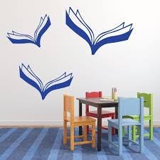 Flying Books Vinyl Wall Decoration For Home Or School