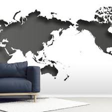 Black And White World Map Wallpaper Wallsauce Us