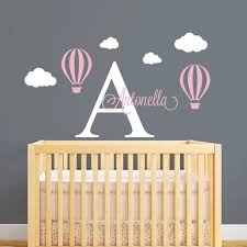 Hot Air Balloon Personalized Name Wall Decal Custom Initial Letter Wall Sticker For Baby Girl Room Diy Nursery Wall Decor L153 Name Wall Stickers Wall Stickerwall Sticker Name Aliexpress