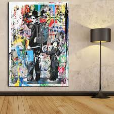 Amazon Com Faicai Art Modern Pop Art Banksy Canvas Painting Graffitart Prints Colorful Charlie Chaplin The Kid Oil Painting Modern Wall Art Posters Living Kids Room Decor Home Decorations Framed 16 X24 Posters