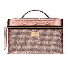glitter train case pink rose gold