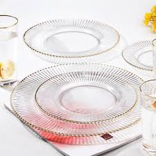glass plates set champagne glass cup