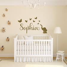 Elephant With Butterflies Baby Name Wall Sticker Elephant Etsy In 2020 Nursery Wall Decor Girl Girl Nursery Wall Name Wall Stickers