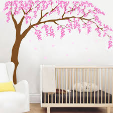Baby Girls Room Wall Decal Cherry Blossom Tree Art Decor Vinyl Stickers Leaves Tree Wall Decals