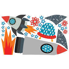 Starry Sky Space Rockets Reusable Wall Decal