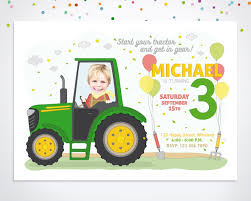 Digital Birthday Invitation Printable Birthday Invitation Tractor Birthday By Happyminiyou On Etsy