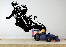 Motocross Wall Decals Dirt Bike Wall Sticker Motorsport Etsy Custom Motorcycles Bobber Custom Choppers Custom Bicycle