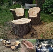 stunning tree trunk garden furniture