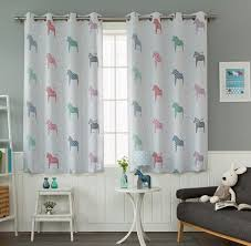 Gray Horse Print Poly Cotton Blend Bay Window Curtains For Kids Room