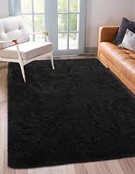 Amazon Com Benron Soft Fluffy Area Rugs For Bedroom Kids Room Shag Furry Rug For Living Room Boys Girls Modern Plush Nursery Rugs Solid Accent Floor Carpet 4x6 Feet Black Kitchen Dining