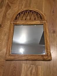wicker cane bamboo framed wall mirror