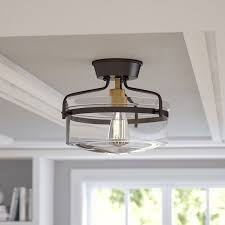 rubbed bronze frosted glass semi flush