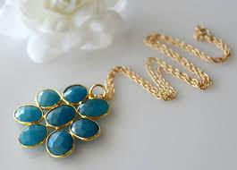 blue chalcedony daisy style necklace