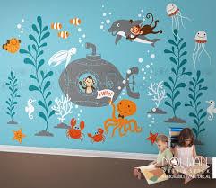 Underwater Wall Decal Ocean Submarine Turtle Monkey Jelly Etsy